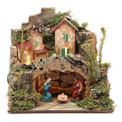 Nativity setting with figurines 6cm and 10 battery light 18x20x14cm