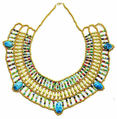 Egypt HandMade Multi Beaded Queen Cleopatra Scarab Necklace Collar Christmas 234