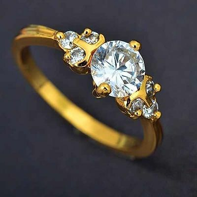 Classic Womens gold filled crystal Wedding Jewelry Band Ring Size 8