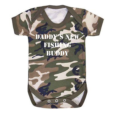 Daddy's Fishing Buddy Camo Baby Vest  RAF Army Camouflage Fishing