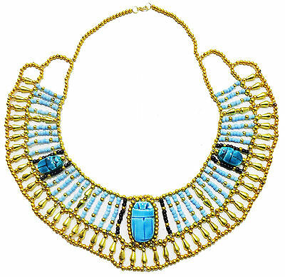 Tribal Ethnic Multi Beaded Cleopatra  Scarab Necklace Collar Christmas Egypt 234