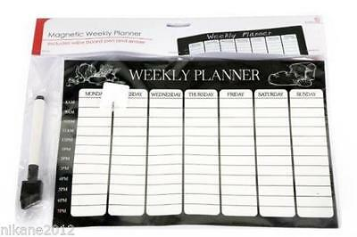 Magnetic Weekly Planner Organiser Calendar Memo Board Reusable Wipeable Fridge
