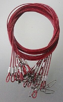 10 x 316 STAINLESS WIRE TRACE LEADER, RED, 100cm 50kg rated
