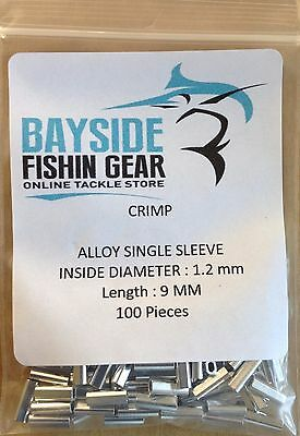 ALLOY CRIMPS 1.2 mm x 9 mm long x 100 SUIT WIRE & MONO TRACE FISHING LEADER