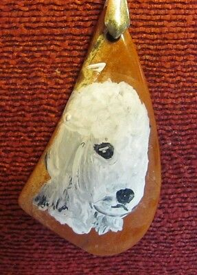 Bedlington Terrier hand painted on a triangular pendant/bead/necklace