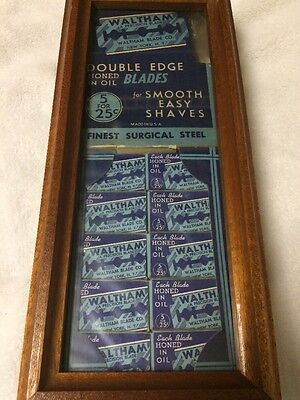 Old Razor Blade Counter Display Waltham Blade Co Framed Store Advertisement