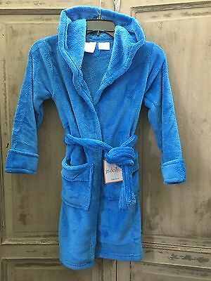 NWT Kids Youth Soft Cozy Fleece Robe XS / S Blue Attached Belt JR Delight