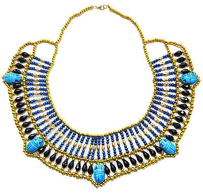 Egyptian Pharaoh Accessory Multi Beaded Cleopatra  Scarab Necklace Collar    234