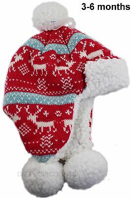 JOHN LEWIS Girls Knitted NORDIC BOBBLE HAT Soft Warm Double Layer RED 3-6 mths