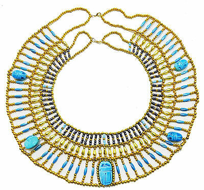 Egyptian HandMade Multi Beaded Cleopatra  Scarab Necklace Collar Choker   234