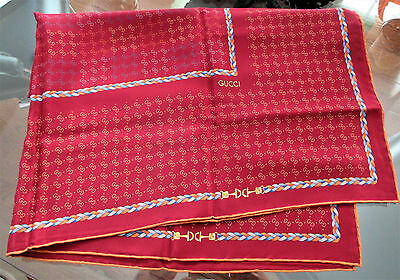 Vintage GUCCI Square Scarf 100% Silk Red GG Pattern Made in Italy EUC
