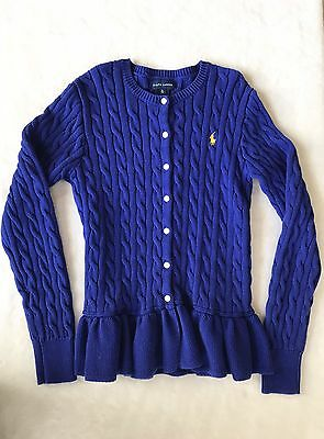 Girls Ralph Lauren Dark Blue Cable Cotton Peplum Cardigan Size XL (16)