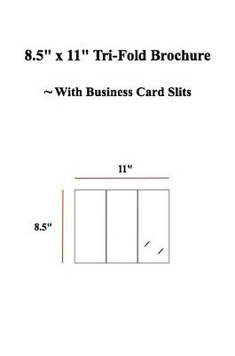 "8.5"" x 11"" Tri-Fold Brochure with Business Card Slits (Sets of 50)"
