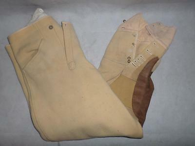 "*vintage Gents Hunting Breeches- Fishtail- Beige- Suede Knee Pads- 32"" Waist*"