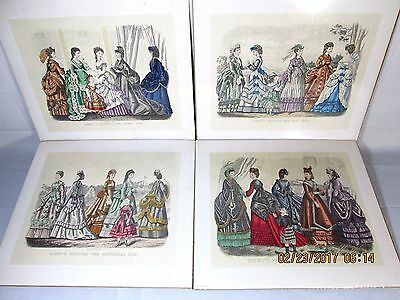 Lot 4 Kimmel & Forster VTG Godey's Fashions 1870 Lithograph Color Prints Italy