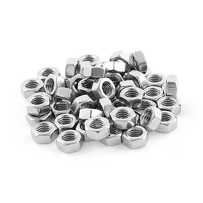 Metric M5x0.8mm Stainless Steel Finished Hex Nut Silver Tone 50pcs