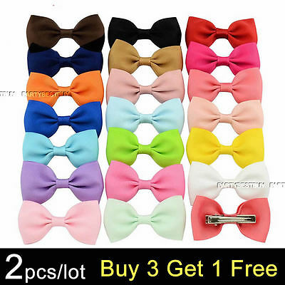 2Pcs Handmade Grosgrain Ribbon Boutique Bow Hair Clip Pin Alligator Baby/girl