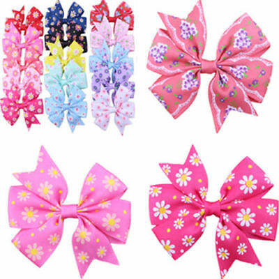 20pcs Handmade Bow Hair Clip Alligator Clips Girls Ribbon Kids Sides Boutique