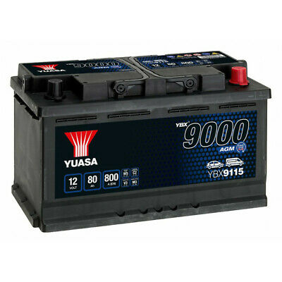Batterie voiture Yuasa AGM Start Stop YBX9115 12V 80Ah 800A  317x175x190mm F21
