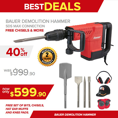 Bauer Demolition Hammer Drill, New, Free Set Of Bits, Chisels, Extras, Fast Ship
