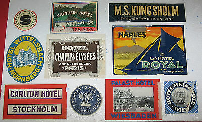 vintage Luggage Label lot of 10 old Luggage Labels