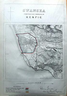 WALES, SWANSEA ,KENFIG BURROWS , Boundaries Commission Antique Map 1868