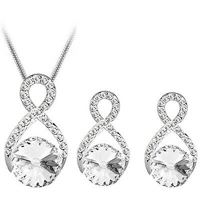 CS133 White Sparke Crystal Evening Wave Curly Earrings matching Pendant Necklace