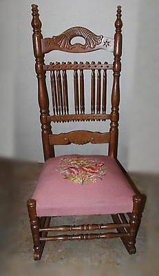 Victorian Spindle Back Rocker with Needlepoint Seat