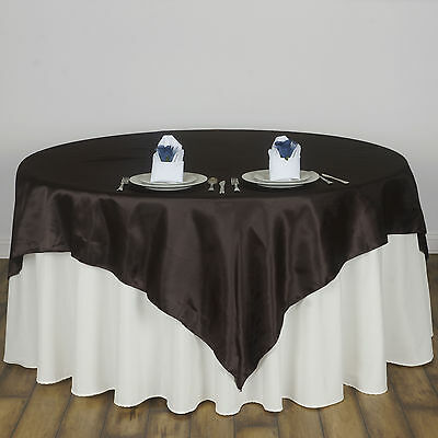 "Chocolate Brown 60x60"" SATIN SQUARE TABLE OVERLAY Wedding Catering Supplies"