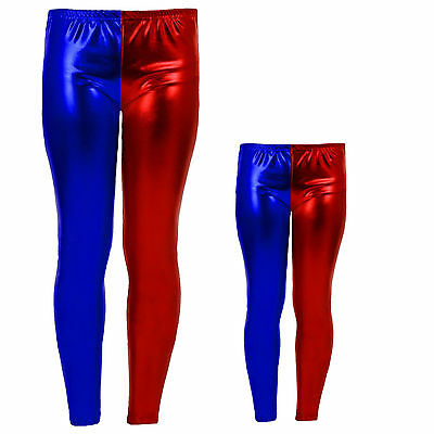 Mother & Daughter Harley Quinn Metallic Leggings Halloween Costumes Outfits Kids