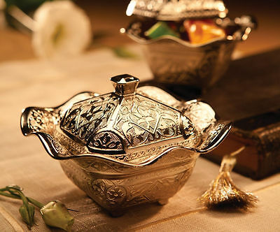 Turkish Classy Sugar Bowl Copperplate Authentic Gift Lokumluk FREE SHIPPING
