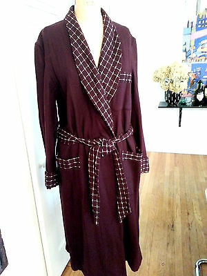 Vtg 40s State of Maine/ Hahne Co. wine Wool Bath Smoking Robe M/L Excellent!