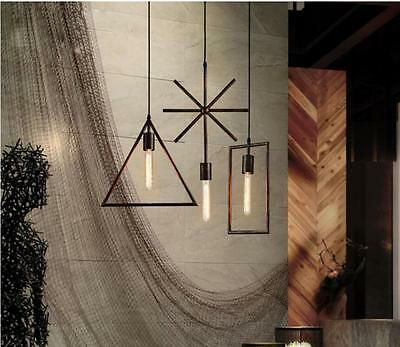 Hot Vintage Style Hanging Rectangle Chandelier Lamp Rustic Iron Pendant Light