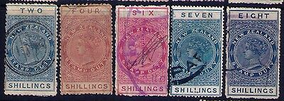 NEW ZEALAND STAMPS Fiscal SC#AR1-8 ;AR10 USED CV$435