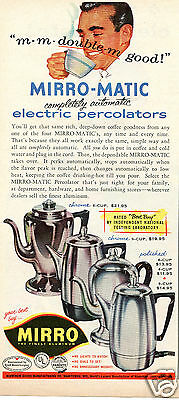 1957 Mirro Matic Electric Percolator Print Ad