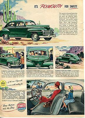 1946 Plymouth For Safety Car Print Ad