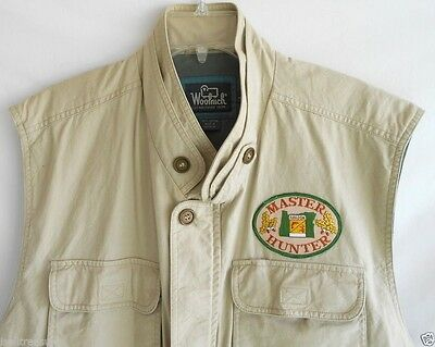Hunting Fishing Vest Khaki Tan Zipper 9 Pockets Woolrich Fitted Cotton Large