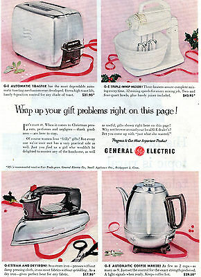 1954 GE General Electric Toaster Mixer Iron & Coffee Maker Christmas Gift Ad