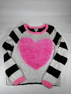 Justice Girls Fuzzy Pink Heart Sweater Black White Size 12