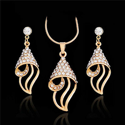 New Womens Austrian Crystal Gold Plated Necklace Pendant Earrings Jewellery Set