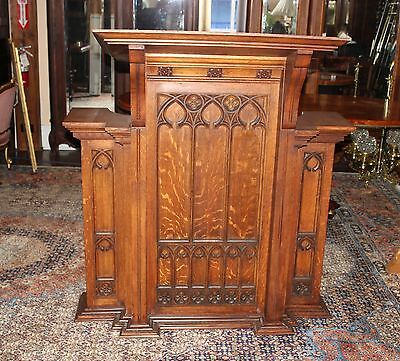 Beautiful French Antique Oak Gothic  Church Pulpit Podium / Lectern .