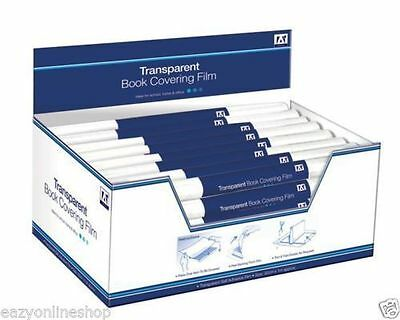 Roll of 30cm x 1m Clear Transparent Book Covering Sticky Back Plastic Film BCC