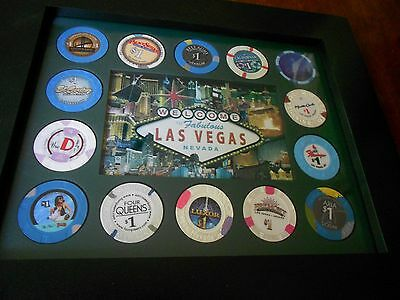 Custom Vegas Frame 14 Chips From Vegas Casinos Handcrafted Frame & Chip Insert