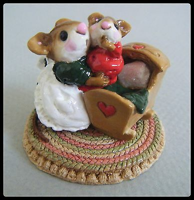 Wee Forest Folk Beddy-Bye Mousey with card(grn/red) M-69 *Special from Presence*