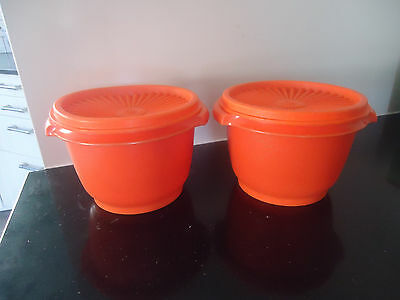 2 vintage retro tupperware orange containers canisters