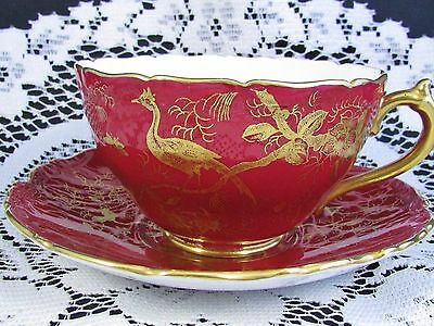 Coalport Red Gold Gilt Cairo Bird Large Breakfast Cup And Saucer