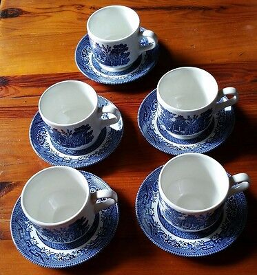 Vintage Flow Blue Blue Willow Tea Cup and Saucer Set of 5 Made in England