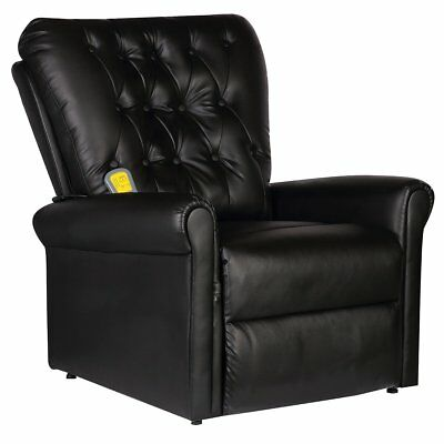 # Massage Chair Faux Leather Recliner Electric Remote Control Stretching Black