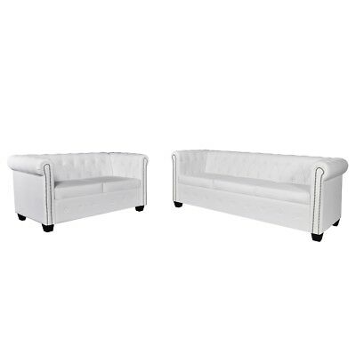 # White Chesterfield Leather Sofa 3 + 2 Seater Set Lounge Bed Suite Couch Chaise