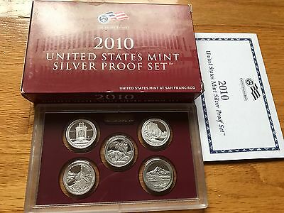 2010 S SILVER PROOF AMERICA THE BEAUITFUL QUARTER SET (See Pictures & Descrip)